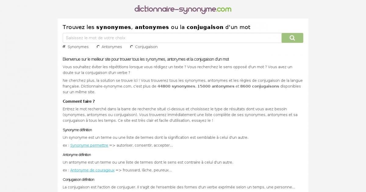 dictionnaire synonyme pour trouver en ligne les synonymes et d finitions de mots. Black Bedroom Furniture Sets. Home Design Ideas