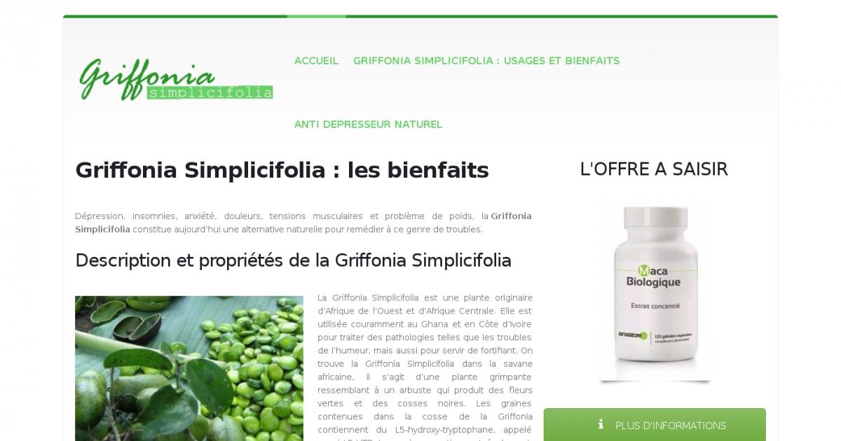 bienfaits griffonia simplicifolia