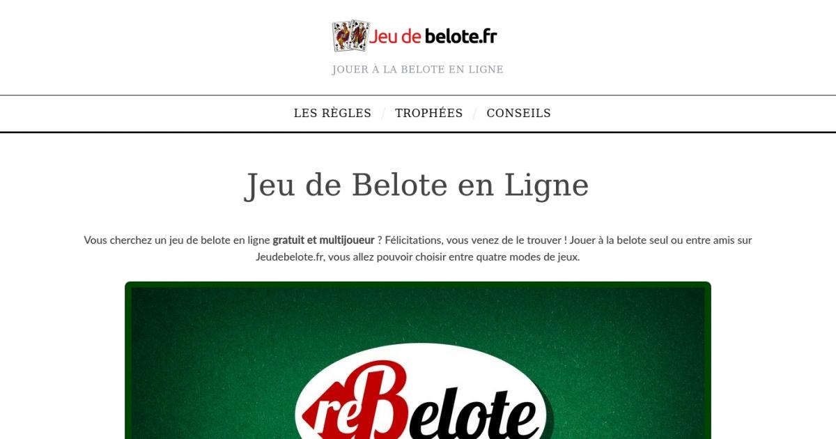 Plateforme de jeu de belote en ligne for Site de jardinage en ligne