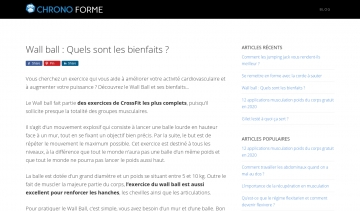 CHRONO FORME, guide d'information sur le wall ball