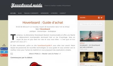 Site hoverboard-guide.fr, Guide d'achat et conseils sur l'Hoverboard